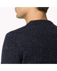 Tommy Hilfiger - Blue Wool Blend Crew Neck Sweater for Men - Lyst