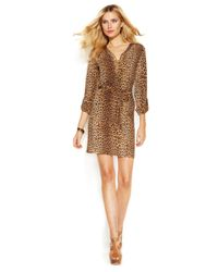 Michael Kors | Brown Michael Petite Lace-Up Belted Shirtdress | Lyst