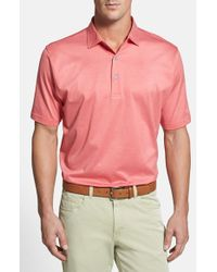 Peter Millar | Pink 'sumter Stripe' Regular Fit Egyptian Cotton Lisle Polo for Men | Lyst