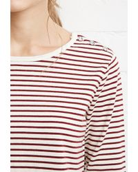Forever 21 | Natural Buttoned Stripe Top | Lyst