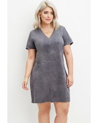 Forever 21 Gray Plus Size Faux Suede Dress