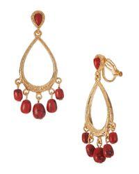 Lauren by Ralph Lauren - Metallic Dazzling Jewels Textured Teardrop Gypsy Hoop with Multi Bead Drops Clip Earring - Lyst