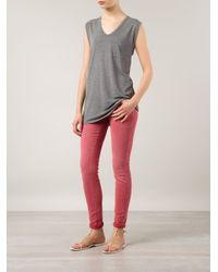 Closed - Red Skinny Low-Rise Stretch-Denim Jeans - Lyst