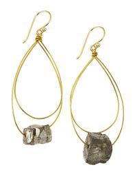 Panacea - Metallic Golden Hematite Hoop Earrings - Lyst