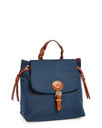 Dooney & Bourke Blue Nylon Flap Backpack