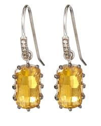 Suzanne Kalan | Metallic White Gold Champagne Topaz And Diamond Dangle Earrings | Lyst