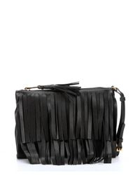 Prada | Black Leather Fringe Clutch | Lyst