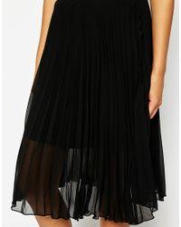 AX Paris | Black Pleated Chiffon Midi Skirt | Lyst