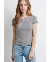 Forever 21 | Black Striped Cap-sleeve Tee | Lyst