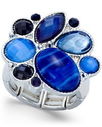 Style & Co. | Silver-tone Blue Stone Stretch Ring | Lyst