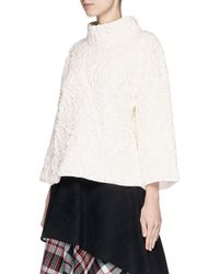 Alexander McQueen - White Rose Quilted Wool Knit Sweater - Lyst