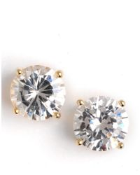 Lord & Taylor | Metallic Gold-plated Cubic Zirconia Stud Earrings | Lyst