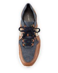 Stuart Weitzman Blue Dreamy Denim Lace-up Sneaker