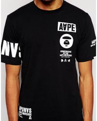Aape Black By A Bathing Ape T-Shirt With Sleeve Print for men