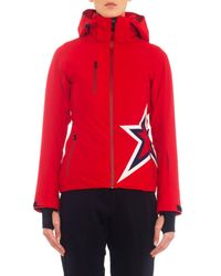 Perfect Moment Red Star-Motif Hooded Ski Jacket