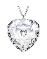 Swarovski - White Rhodium-plated Crystal Truthful Heart Pendant Necklace - Lyst