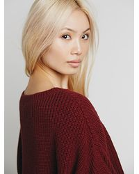 Free People Red Ryanne Crew Neck Pullover