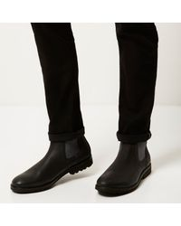River Island - Black Leather Cleated Sole Chelsea Boots for Men - Lyst