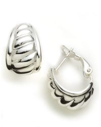 Lord & Taylor | Metallic Sterling Silver J-hoop Earrings | Lyst