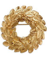 Charter Club   Metallic Gold-tone Wreath Pin   Lyst