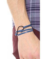 Miansai - Blue Hook Black Leather Wrap Bracelet for Men - Lyst