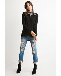 Forever 21 Black Cutout-back Textured Sweater