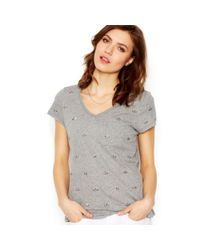 Maison Jules - Gray Embellished Tee - Lyst