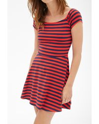 Forever 21 - Blue Striped Knit Skater Dress You've Been Added To The Waitlist - Lyst