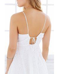 Love Sadie White Lace Drawstring Halter Dress