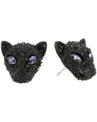 Betsey Johnson - Purple Panther Head Stud Earrings - Lyst