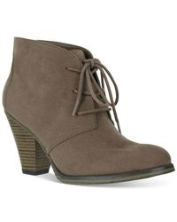 MIA | Gray Shawna Lace-up Booties | Lyst