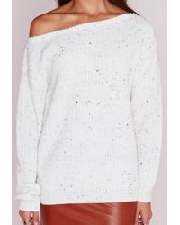 Missguided - Petite Ophelita Off Shoulder Jumper White - Lyst