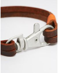 ASOS | Brown Leather Bracelet With Lobster Clip Fastening for Men | Lyst