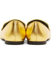 KENZO - Metallic Gold Leather Embroidered Eye Slippers - Lyst