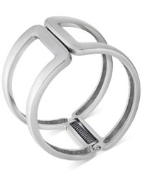 T Tahari - Metallic Silver-tone Open Hinge Bangle Bracelet - Lyst