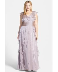 Adrianna Papell | Purple Iridescent Chiffon Petal Gown | Lyst