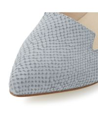 Dune | Gray Gracee Leather Reptile Print Loafers | Lyst