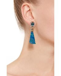 Jordan Alexander | Mo Exclusive: 18k Gold London Blue Topaz And Azurite Earrings | Lyst