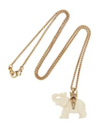 Kenneth Jay Lane - Metallic Goldplated Resin Elephant Necklace - Lyst
