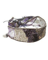 Chan Luu Purple Silk Chiffon Bracelet with Embroidery