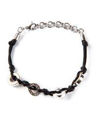 BVLGARI - Black Cord and Logo Disc Bracelet - Lyst