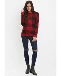 Forever 21 - Red Buffalo Plaid Sweater - Lyst