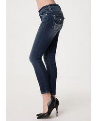 Bebe Blue Big Stitch Skinny Jeans