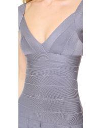 Hervé Léger | Purple Mirah Dress with Detailed Hem | Lyst