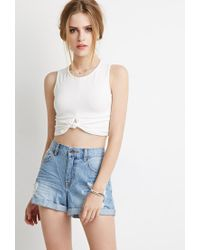Forever 21 - Blue Distressed Denim Shorts - Lyst
