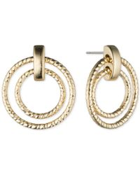 Anne Klein - Metallic Silvertone Double Hoop Earrings - Lyst