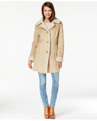 Michael Kors | Natural Michael Faux-shearling Walker Coat | Lyst
