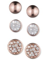 Nine West | Pink Rose Gold-tone Stud Earring Trio | Lyst