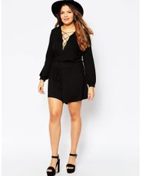 ASOS - Black Playsuit With Lace Up Front - Lyst