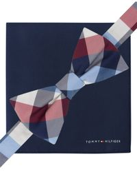 Tommy Hilfiger - Blue Plaid Pre-tied Bow Tie & Solid Pocket Square Set for Men - Lyst